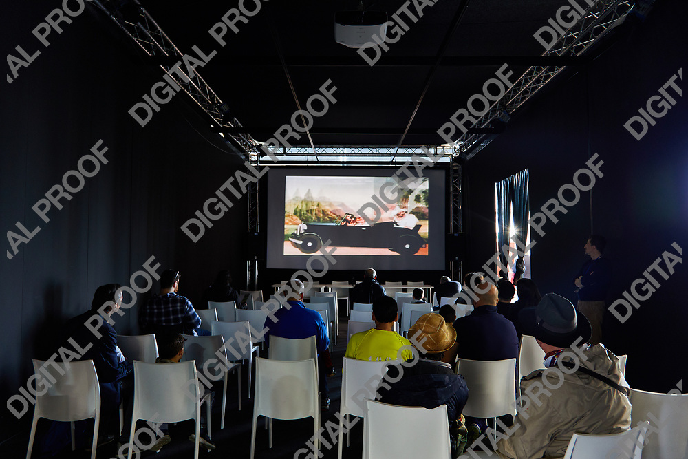 Milan, Italy - March 8 2019 Cartoomics Comic Con Projection room with Popeye cartoons on screen