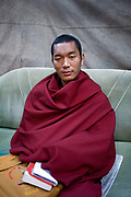 A Tibetan monk who is living in exile on 3rd November 2009 in Mcleod Ganj, Dharamshala, state of Himachal Pradesh, India. Many Tibetans have found exile in the Indian side of the Tibetan border region after Tibet became part of China.