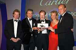 Left to right, the HON.PETER STANLEY, MR ARNAUD BAMBERGER, The EARL & COUNTESS OF DERBY and EDWARD DUNLOP at the 2004 Cartier Racing Awards in association with the Daily Telegraph, held at the Four Seasons Hotel, London on 17th November 2004.<br />