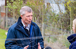 Pictured: Willie Rennie makes sure he follows the health and safety rules as he visits the butchery at Craigie Farm<br /> <br /> Scottish Liberal Democrat leader Willie Rennie headed to South Queensferry today to met visitors at Craigie's Farm and Deli ahead of the final TV leaders debate of the Holyrood campaign. Mr Rennie  toured the farm shop and deli and lent a hand behind the service counter. Mr Rennie underlined that the Lib Dems have punched well above their weight at the Scottish Parliament <br /> <br /> Ger Harley | EEm 1 May 2016