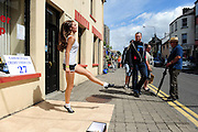 Karen Stapleton from Cahersiveen pictured doing her Irish Dance routine while taking part in the Celtic Music Festival busking competition in Cahersiveen, County Kerry at the weekend.<br /> Picture by Don MacMonagle