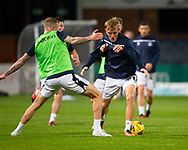 06/10/2020: Dundee FC train at Kilmac Stadium after their Betfred Cup match against Forfar Athletic was postponed due to a positive COVID test result for one of the Forfar players: Max Anderson takes on Christie Elliott  <br /> <br /> <br />  :©David Young: davidyoungphoto@gmail.com: www.davidyoungphoto.co.uk