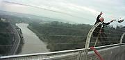 David Kirke's 21 St Anniversary  bungy jumping off Clifton Suspension Bridge. ( Birthday cake to far right) 1 April 2000. <br /> <br />© Copyright Photograph by Dafydd Jones 66 Stockwell Park Rd. London SW9 0DA Tel 020 7733 0108 www.dafjones.com