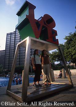 """LOVE"" sculpture, Philadelphia, PA, Tourists"