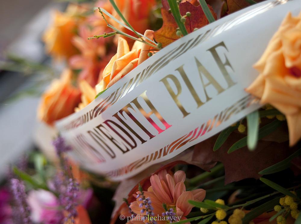 A memorial to Edith Piaf at Cimetier du Pere Lachaise, Paris, France