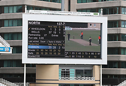 Detail of the scoreboard after the first team bats during the 100 Ball Trial match at Trent Bridge, Nottingham.