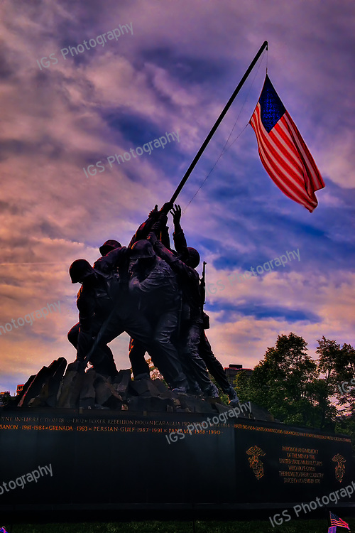 The United States Marine Corps War Memorial, located in Arlington Ridge Park, at Sunset