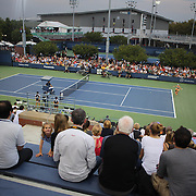 Laura Robson, Great Britain, in action against Caroline Garcia, France, on outside court eleven during the Women's Singles competition at the US Open. Flushing, New York, USA. 28th August 2013. Photo Tim Clayton