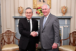 May 4, 2017 - Washington, DC, United States of America - U.S. Secretary of State Rex Tillerson greets Thai Foreign Minister Don Pramudwinai before bilateral talks at the State Department May 4, 2017 in Washington, D.C. (Credit Image: © Glen Johnson/Planet Pix via ZUMA Wire)