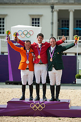 Podium: 1 Guerdat Steve (SUI), 2 Schroder Gerco (NED), 3 O' Connor Cian (IRL)<br /> Olympic Games London 2012<br /> © Hippo Foto - Jon Stroud