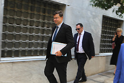 June 15, 2018 - European Commission Vice President Valdis Dombrovskis going to meet Yannis Stournaras Governor, Bank of Greece,  in Athens. Tsakalotos earlier the same day met already with Managing Director of the European Stability Mechanism (ESM) Klaus Regling to discuss the ESM's financial assistance to euro area countries experiencing or threatened by severe financing problems. (Credit Image: © Aristidis Vafeiadakis via ZUMA Wire)