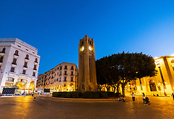 Night view of Clocktower in Place d'Etoile Downtown Beirut, Lebanon