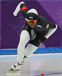 February 17, 2018 - Gangneung, South Korea -  ERIN JACKSON of USA during Speed Skating: Ladies' 500m at Gangneung Oval at the 2018 Pyeongchang Winter Olympic Games. (Credit Image: © Jon Gaede via ZUMA Wire)
