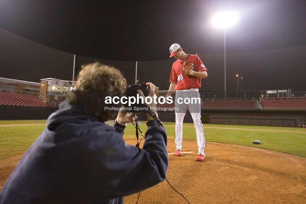 02 February 2007: North Carolina State Wolfpack RHP Andrew Brackman during a evening photo shoot for the Technician on Doak Field in Raleigh, NC.