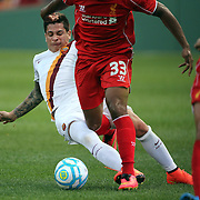 Liverpool, in action during the Liverpool Vs AS Roma friendly pre season football match at Fenway Park, Boston. USA. 23rd July 2014. Photo Tim Clayton