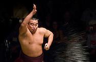 Takamisakari throws salt into the ring prior to his match at the 2005 Grand Sumo Championship Las Vegas tournament, Mandalay  Bay Resort & Casino, Las Vegas, Nevada