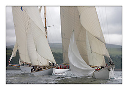 The Class one fleet at the turning mark off Skelmorlie with Altair 1931 Schooner trailing Mariquita 1911 a 19 metre and Moonbeam III 1903 a Gaff Cutter dropping her spinnaker...The final day's racing on the King's Course North of Cumbrae...* The Fife Yachts are one of the world's most prestigious group of Classic .yachts and this will be the third private regatta following the success of the 98, .and 03 events.  .A pilgrimage to their birthplace of these historic yachts, the 'Stradivarius' of .sail, from Scotland's pre-eminent yacht designer and builder, William Fife III, .on the Clyde 20th -27th June.   . ..More information is available on the website: www.fiferegatta.com . .Press office contact: 01475 689100         Lynda Melvin or Paul Jeffes