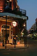 Night views of the Pontalba Buildings along Jackson Square, French Quarter, New Orleans, Louisiana