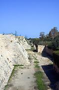The Crusader's moat around Caesarea 10 m deep and 15 m wide. Caesarea, a town built by Herod the Great about 25 - 13 BC, lies on the sea-coast of Israel