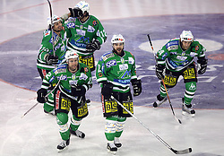 Yarema, Elik (at back), Mitchell, Kuznik and Vnuk after goal at sixth game of the Final of EBEL league (Erste Bank Eishockey Liga) between ZM Olimpija vs EC Red Bull Salzburg,  on March 25, 2008 in Arena Tivoli, Ljubljana, Slovenia. Red Bull Salzburg won the game 3:2 and series 4:2 and became the Champions of EBEL league 2007/2008.  (Photo by Vid Ponikvar / Sportal Images)..