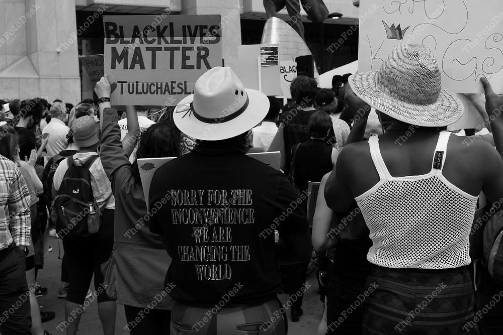 NEW YORK, NEW YORK:   Demonstrators are shown during a Black Lives Matters Movement march and rally in the wake of the death of George Floyd at Adam Clayton Powell Plaza in New York June 14, 2020. (Brian B. Price/ Thefotodesk)