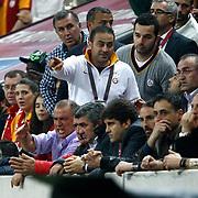 Galatasaray's coach Fatih Terim (L) during their Turkish Superleague soccer match Galatasaray between Mersin Idman Yurdu at the AliSamiYen Spor Kompleksi at Aslantepe in Istanbul Turkey on Saturday 06 April 2013. Photo by Aykut AKICI/TURKPIX
