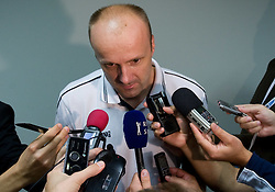 Head coach of Slovenia Jure Zdovc with journalists after the EuroBasket 2009 Group F match between Slovenia and Turkey, on September 16, 2009 in Arena Lodz, Hala Sportowa, Lodz, Poland. Slovenia won 69:67. (Photo by Vid Ponikvar / Sportida)