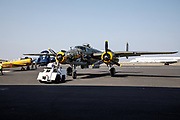 North American B-25 Mitchell being towed into place, Erickson Aircraft Collection.