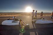 Ellen van Vugt maakt zich klaar voor de start van de derde racedag van het WHPSC. In de buurt van Battle Mountain, Nevada, strijden van 10 tot en met 15 september 2012 verschillende teams om het wereldrecord fietsen tijdens de World Human Powered Speed Challenge. Het huidige record is 133 km/h.<br /> <br /> Ellen van Vugt is preparing herself to start on the third racing day of the WHPSC. Near Battle Mountain, Nevada, several teams are trying to set a new world record cycling at the World Human Powered Speed Challenge from Sept. 10th till Sept. 15th. The current record is 133 km/h.