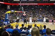 Golden State Warriors forward Kevin Durant (35) shoots a free throw against the Portland Trail Blazers at Oracle Arena in Oakland, Calif., on October 21, 2016. (Stan Olszewski/Special to S.F. Examiner)