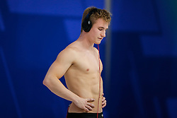 Jack Laugher of Great Britain looks dejected after his rival gets am unbeatable points lead on his final dive to leave him in the Silver Medal position - Mandatory byline: Rogan Thomson/JMP - 12/05/2016 - DIVING - London Aquatics Centre - Stratford, London, England - LEN European Aquatics Championships 2016 Day 4.