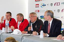 Pressconference Team Belgium: Guerdat Philippe (SUI), Demeersman Dirk (BEL), Wathelet Gregory (BEL)<br /> FEI Nations Cup La Baule 2012<br /> © Dirk Caremans