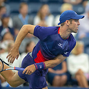2019 US Open Tennis Tournament- Day Three. Bradley Klahn of the United States in action against Kei Nishikori of Japan in the Men's Singles Round Two match on Louis Armstrong Stadium at the 2019 US Open Tennis Tournament at the USTA Billie Jean King National Tennis Center on August 27th, 2019 in Flushing, Queens, New York City.  (Photo by Tim Clayton/Corbis via Getty Images)