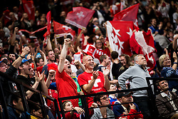 Supporters of Switzerland celebrate after the 2017 IIHF Men's World Championship group B Ice hockey match between National Teams of Canada and Switzerland, on May 13, 2017 in AccorHotels Arena in Paris, France. Photo by Vid Ponikvar / Sportida