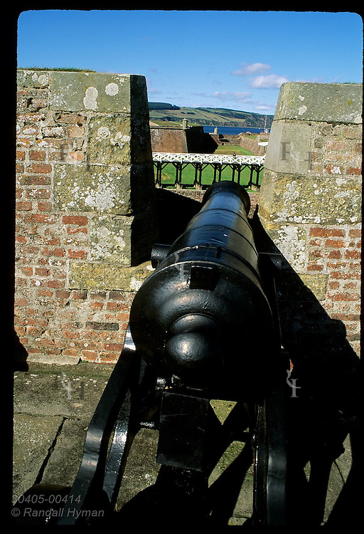 Cannon guards bridge over moat at entrance to Fort George, built to quell further revolt after final Jacobite defeat of 1746; Scotland.