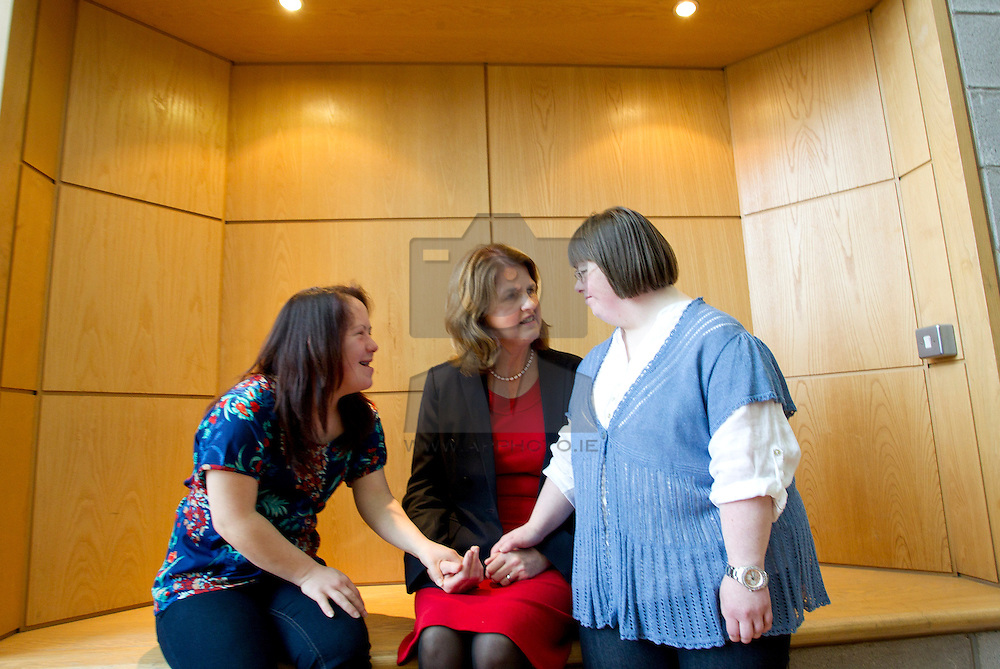 ITB and Daughters of Charity Service Launch Integrated Education Programme .Minister for Social Protection Joan Burton, joined the Institute of Technology Blanchardstown (ITB) and the Daughters of Charity Service to announce the launch of the Integrated Education Programme.  This is a unique education initiative for those with intellectual disabilities in the Dublin 15 seven other areas. Laura Byrne and Denise Bryann are pictured with the Minister as they discussed the Integrated Education Programme that they are currently participating in. Pic Andres Poveda
