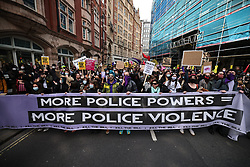 © Licensed to London News Pictures. 01/05/2021. London, UK. Protesters at a Kill the Bill protest in London. Protests have been held across the UK in opposition to the Police, Crime, Sentencing and Courts Bill which would broaden police powers when dealing with protests. Photo credit: Rob Pinney/LNP