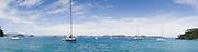 Panoramic view from Motuarohia Island across the Bay of Islands. Sailboats moored.