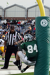 12 November 2011:  Mike Sloboda slams hard into the padding on the goal post forcing him to drop a pass during an NCAA division 3 football game between the Augustana Vikings and the Illinois Wesleyan Titans in Tucci Stadium on Wilder Field, Bloomington IL
