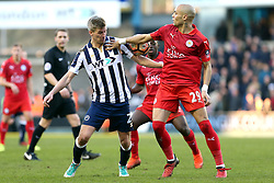 18 February 2017 - FA Cup, Fifth Round - Millwall v Leicester City<br /> Steve Morison of Millwall and Yohan Benalouane of Leicester both appear to handle the ball but the foul is not called<br /> Photo: Charlotte Wilson