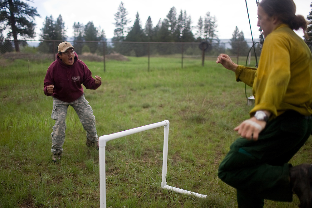 A rookie smokejumper at the McCall smokejumper base in McCall, ID on the obstacle course.