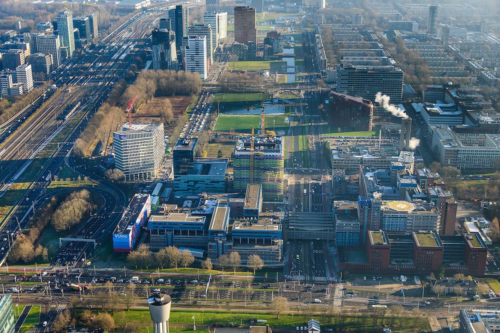 Nederland, Noord-Holland, Amsterdam, 11-12-2013; zicht op de Zuidas met Ziekenhuis Vrije Universiteit VUmc en VU mc Cancer Center. In de achtergrond de Zuidas rond Station Zuid-WTC, World Trade Centre (WTC).<br /> View of the Zuidas with University Hospital VUmc (Vrije Universiteit) and VU MC Cancer Center. In the background the financial center in the South of Amsterdam, with headquarters of former ABN AMRO. Amsterdam equivalent of 'the City',  financial district.<br /> luchtfoto (toeslag op standaard tarieven);<br /> aerial photo (additional fee required);<br /> copyright foto/photo Siebe Swart.