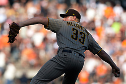 San Diego Padres pitcher Mark Melancon (33) delivers a pitch against the San Francisco Giants during the tenth inning of a baseball game, Saturday, Oct. 2, 2021, in San Francisco. Melancon got the save in the Padres' 3-2 victory. (AP Photo/D. Ross Cameron)