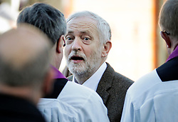 © Licensed to London News Pictures. 01/12/2017. Connah's Quay, UK. Labour party leader JEREMY CORBYN arrives for the funeral of Carl Sargeant, who died four days after stepping down from his post in the Welsh Government after unspecified allegations of sexual harassment were made against him. He had denied the allegations. Photo credit: Joel Goodman/LNP