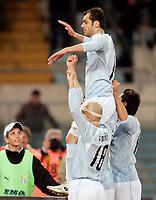 """Esultanza di Goran Pandev (Lazio) dopo il gol dell'1-0 conTommaso Rocchi e Valon Behrami (Lazio)<br /> Goran Pandev (Lazio) celebrates after scoring first goal with teammates Tommaso Rocchi, Valon Behrami (Lazio)<br /> Italian """"Serie A"""" 2006-07 <br /> 13 Jan 2007 (Match Day 19)<br /> Empoli-Parma (2-0)<br /> """"Castellani"""" Stadium-Empoli-Italy<br /> Photographer Luca Pagliaricci INSIDE"""