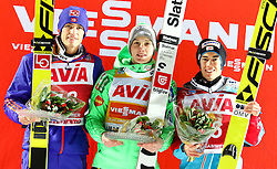 10.12.2016, Lysgards Schanze, Lillehammer, NOR, FIS Weltcup Ski Sprung, Lillehammer, im Bild Daniel-Andre Tande (2. Platz, NOR) Sieger Domen Prevc (SLO), Stefan Kraft (AUT, 3. Platz) // 2nd placed Daniel Andre Tande of Norway Winner Domen Prevc of Slovenia 3rd placed Stefan Kraft of Austria during Mens Skijumping of FIS Skijumping World Cup at the Lysgards Schanze in Lillehammer, Norway on 2016/12/10. EXPA Pictures © 2016, PhotoCredit: EXPA/ Tadeusz Mieczynski