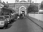 Release of Fishermen from Mountjoy.1982.22.10.1982.10.22.1982.22nd October 1982.As a result of E.U Fisheries policy, in regard to a total ban on herring fishing in the Irish Sea,blockades of eastern fishing ports were started. Several fishermen were imprisioned as a result..A view of Mountjoy Prison,North Circular Road, Dublin,as the fishermen are released.here the fishermen are reunited with their wives and friends..pictures  of ireland.pictures.Photos of Ireland.Photos .old pictures.old photos  of ireland.old photos.old photographs  of ireland.old photographs. images of Ireland.images.historic images  of ireland.historic images.Black and White images of Ireland