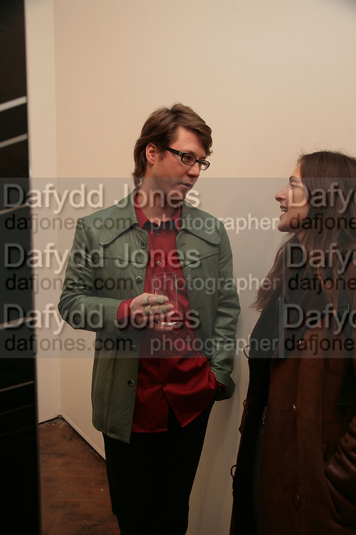 Ian Munroe and Sarah Thornton, Planit- Exhibition of work by Ian Munroe. Haunch of Venison. London. 1 March 2007.  -DO NOT ARCHIVE-© Copyright Photograph by Dafydd Jones. 248 Clapham Rd. London SW9 0PZ. Tel 0207 820 0771. www.dafjones.com.