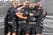 Emirates Team New Zealand group hug after winning the America's Cup against Luna Rossa Prada Pirelli Team 7 - 3.  Wednesday the 17th of March 2021. Copyright photo: Chris Cameron