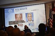 Garden City, New York, USA. November 6, 2018. Nassau County Democrats watch Election Day results at Garden City Hotel, Long Island.